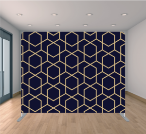 Fiesta Time Backdrop Blue and Gold Geometric