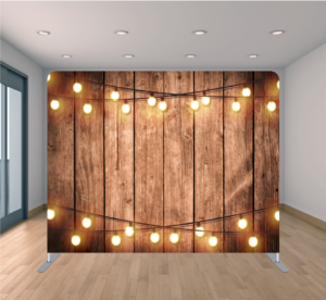 Fiesta Time Backdrop Wood with Two String Lights